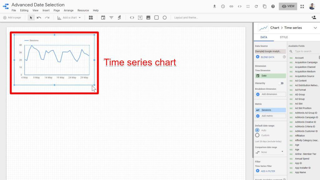 The newly-created Time series chart being displayed in the blank report window of Google Data Studio