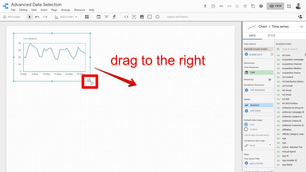 The Time series chart being dragged to the right in the Google Data Studio