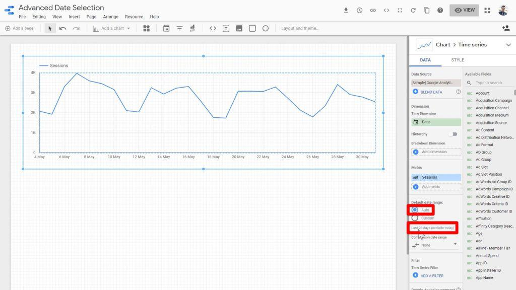 The Auto default range being highlighted and the cursor pointing towards the date range of the Time series chart