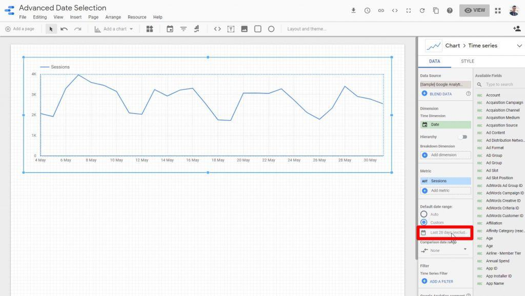 The date range being clicked in Google Data Studio