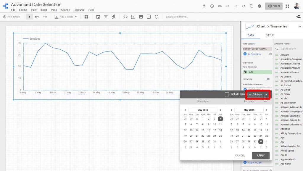 The date range dropdown menu being clicked on for editing the date included in the Time series chart