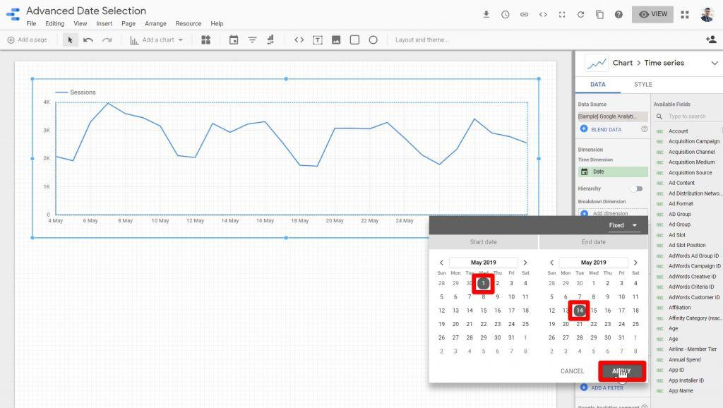 Random dates being selected on the Fixed date range window