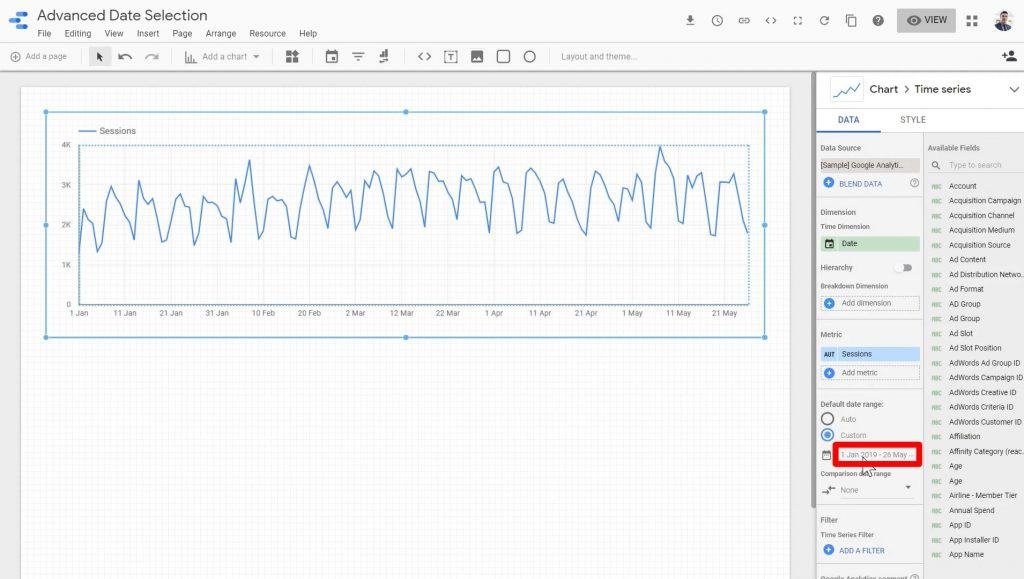 The date range section being clicked a second time in Google Data Studio