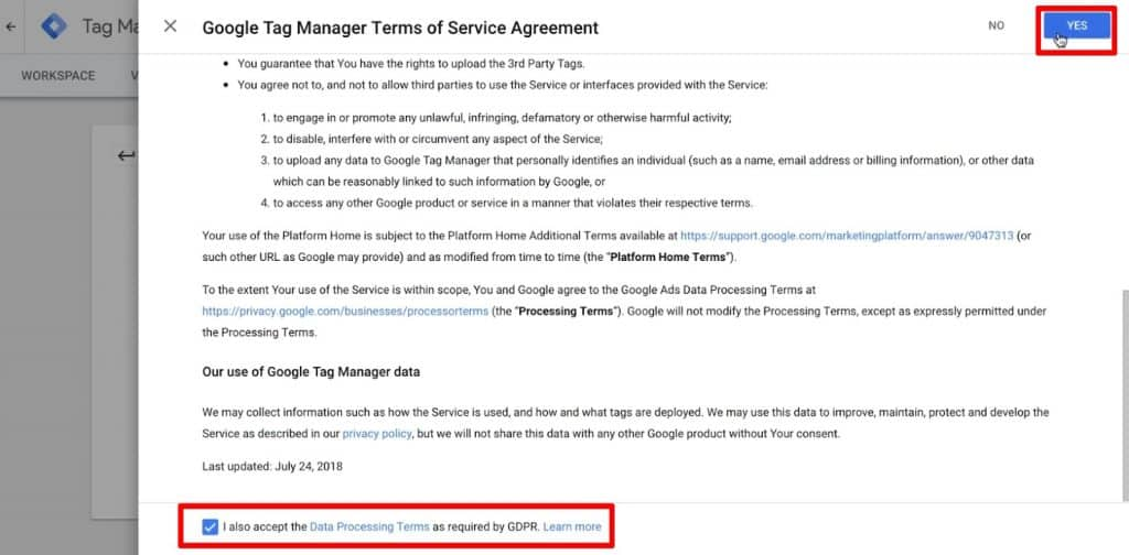 Accept the Terms of Service in Google Tag Manager to create an account