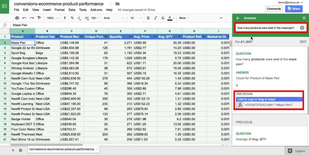Ask a customized question under the Explore option of Google Sheets