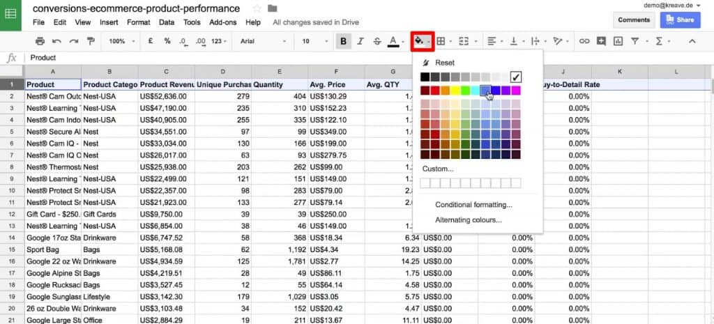 Change the background color of the header row in Google Sheets