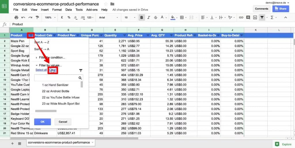 Clear all the filters of a column in Google Sheets