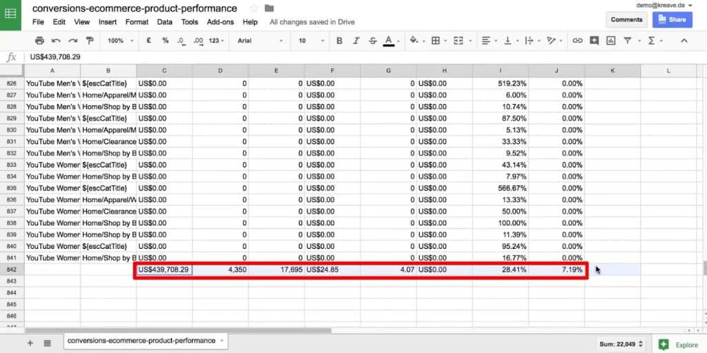 Deleting the summation at the end of the data in Google Sheets