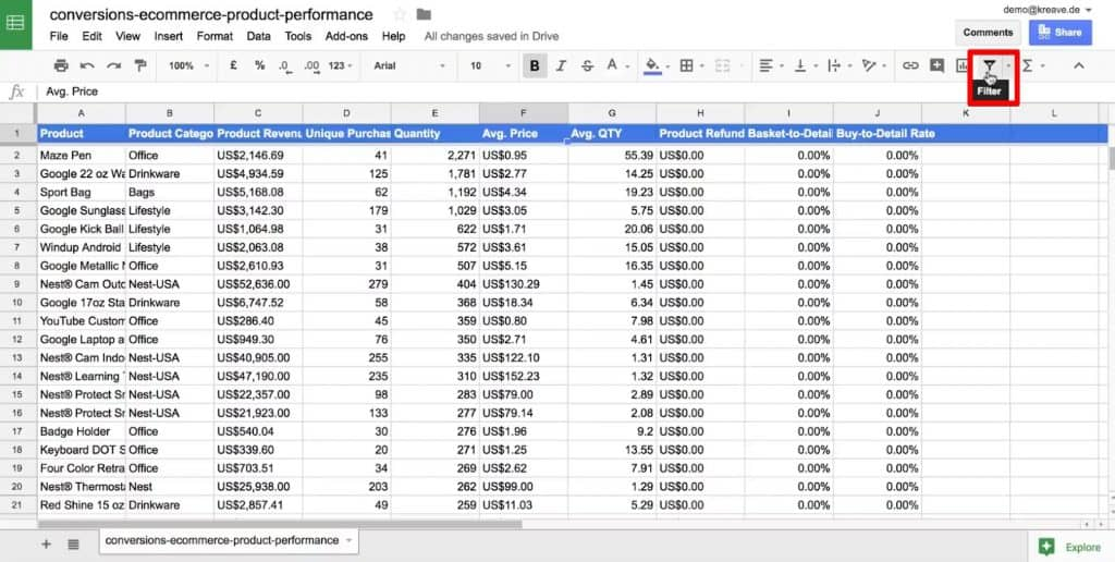 Filter button in Google Sheets for quick data analysis
