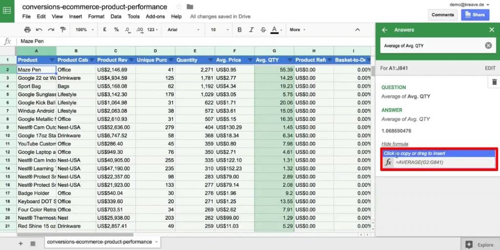 Formula of an answer under the Explore option of Google Sheets