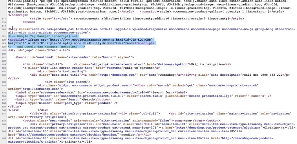 Google Tag Manager code snippet in the body section of the page source of the website
