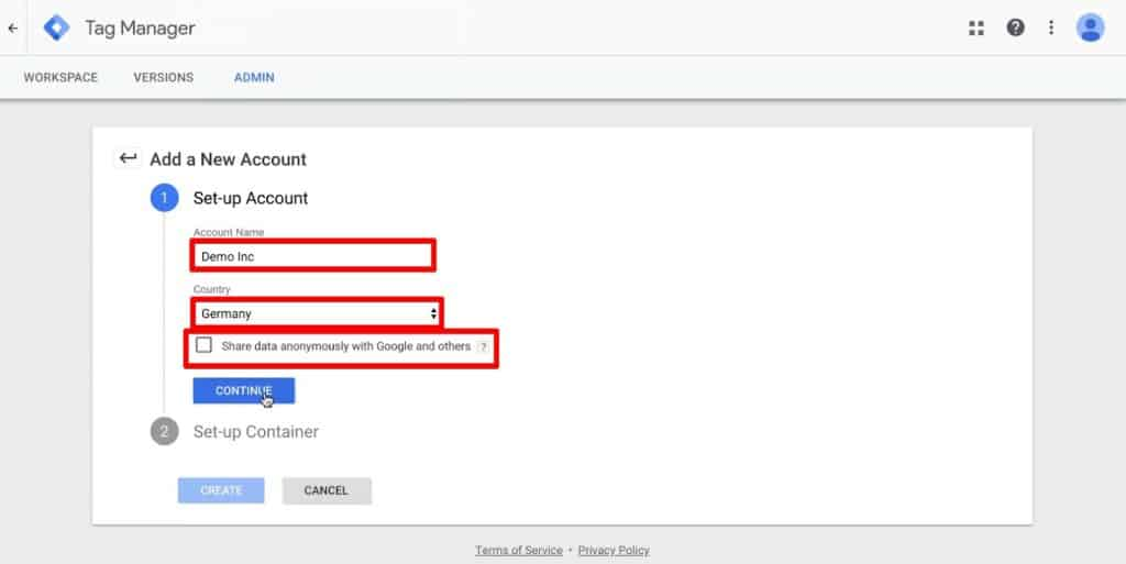 New Account Set-up for Google Tag Manager