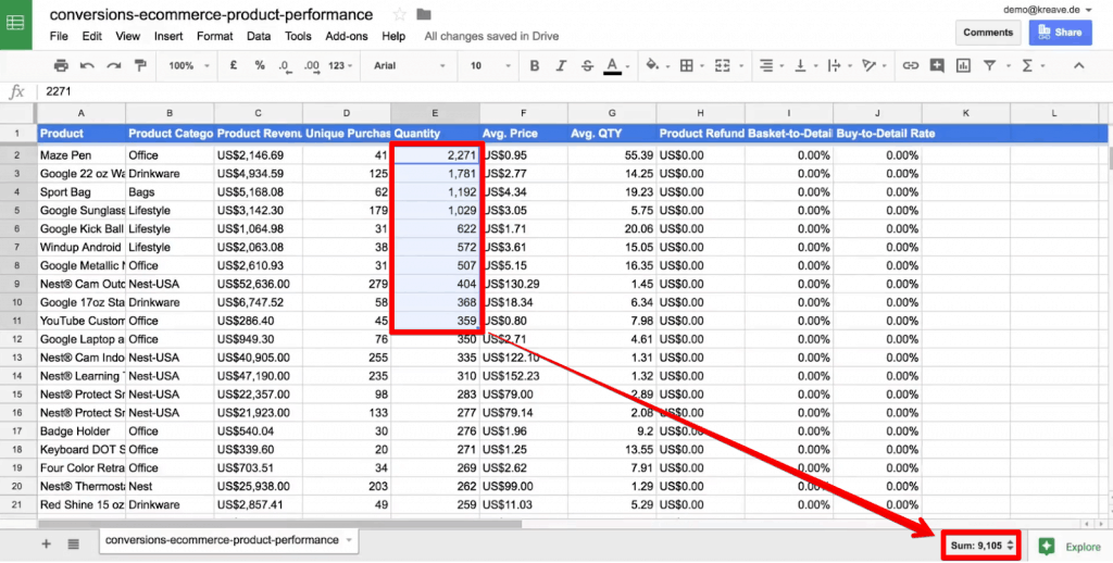 Quick Sum function in Google Sheets