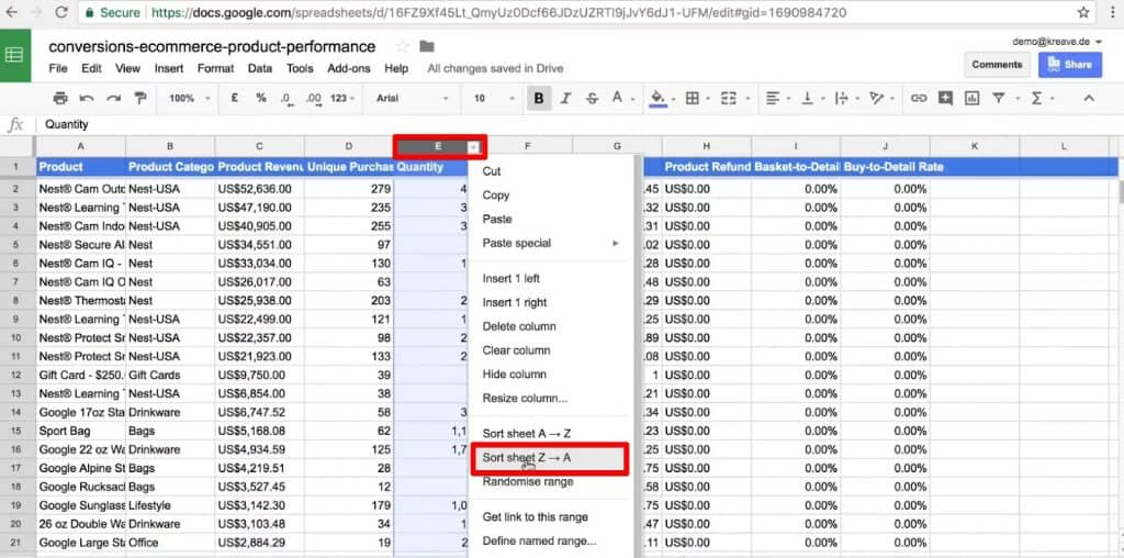 Sort data from Z to A in Google Sheets for data analysis