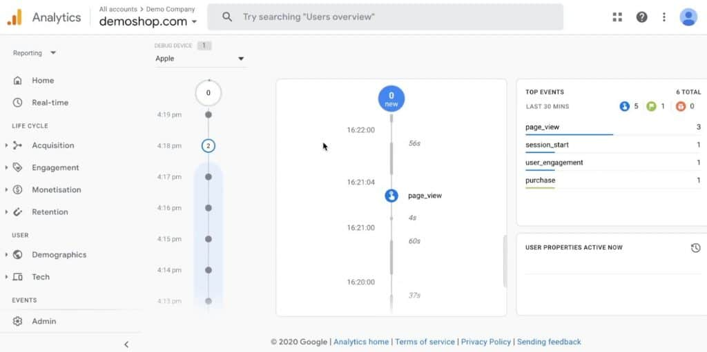 An event named page_view in Google Analytics 4