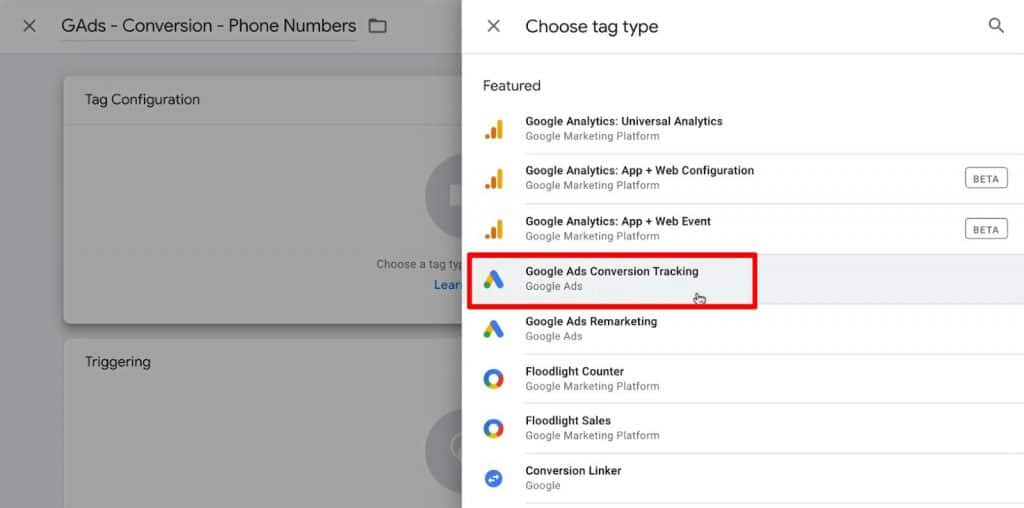 Choose tag type as Google Ads Conversion Tracking in Google Analytics