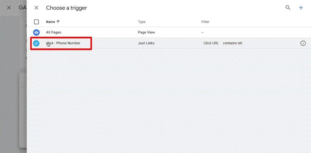 Choose the Phone Number Click trigger to link it to the Google Analytics Tag
