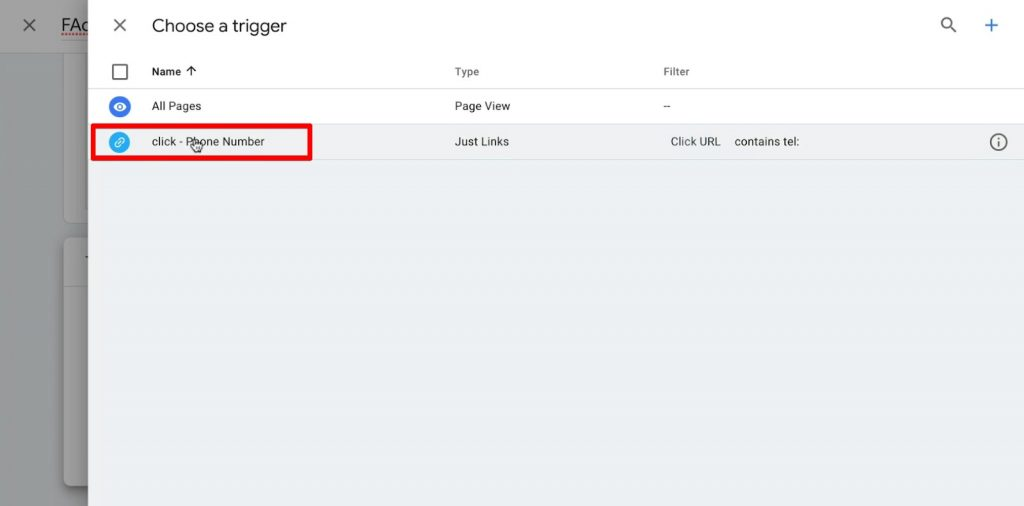 Connecting the phone number click trigger to the Facebook Ads event tracking Tag