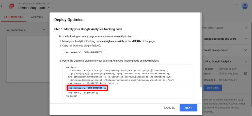 Copy the Optimize code to paste into your Google Analytics tracking code