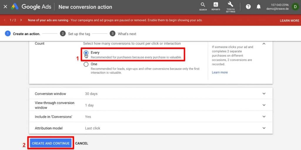 Counting every interaction for Google Ads Conversion Tracking