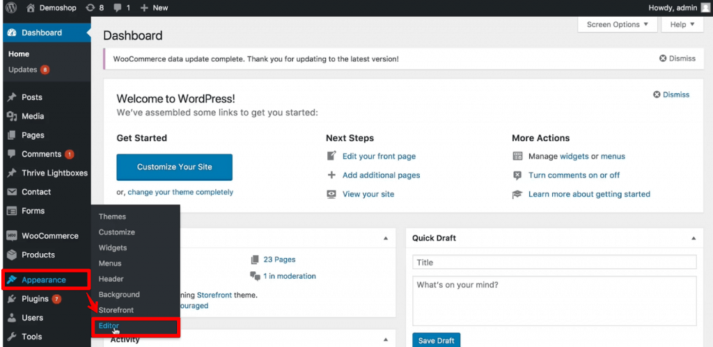 Editor under the Appearance section of WordPress Admin dashboard