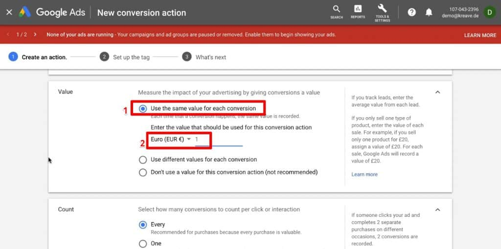 Giving conversion a value in Google Ads Conversion Tracking