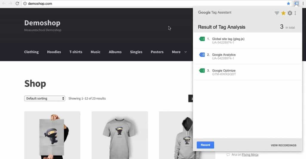 Global site tag, Google Analytics, and Google Optimize in the Google Tag Assistant