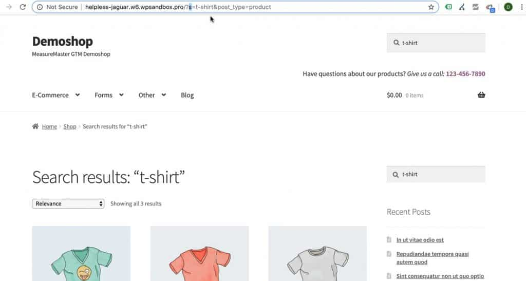 Keyword in the URL query string of the search result page