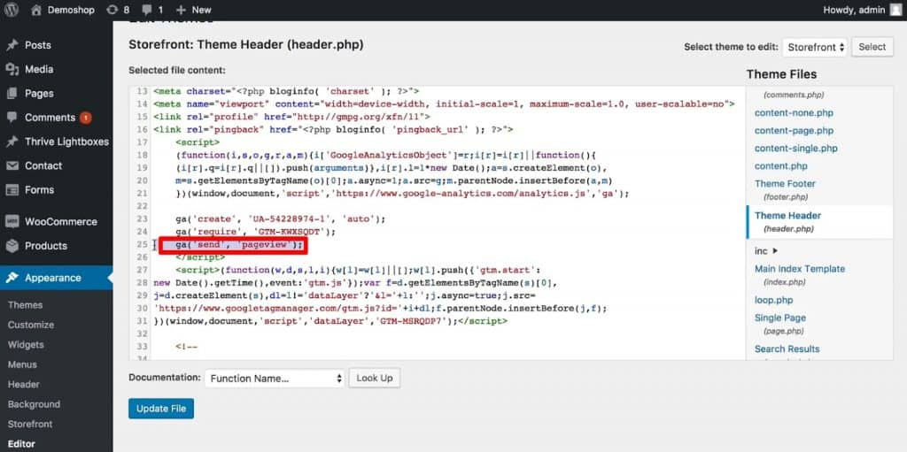 Remove the Google Analytics pageview functionality from the Theme Header file of WordPress