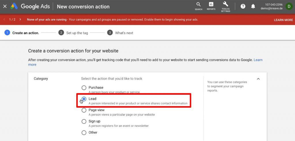 Selecting Conversion Category as Lead in Google Ads