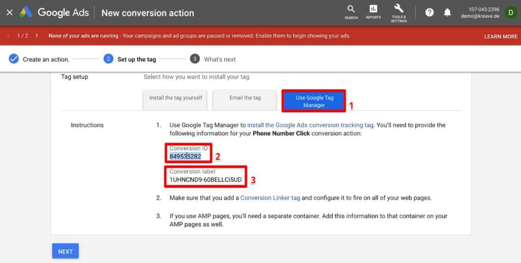 Setting up the Tag for Google Ads Conversion Tracking