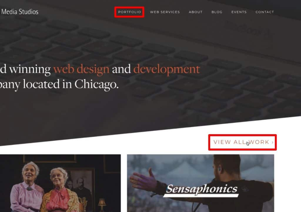 Two different links for the Portfolio page on the website