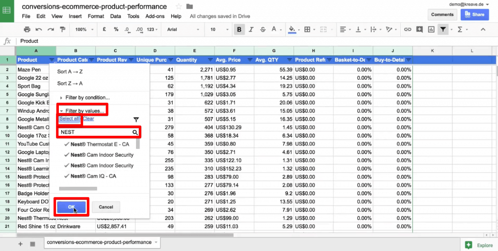 Using search box to filter a column by values in Google Sheets