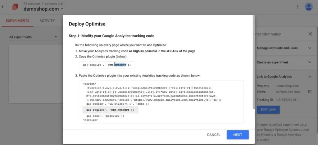 optimise_id in the Deploy Optimize popup of Google Optimize