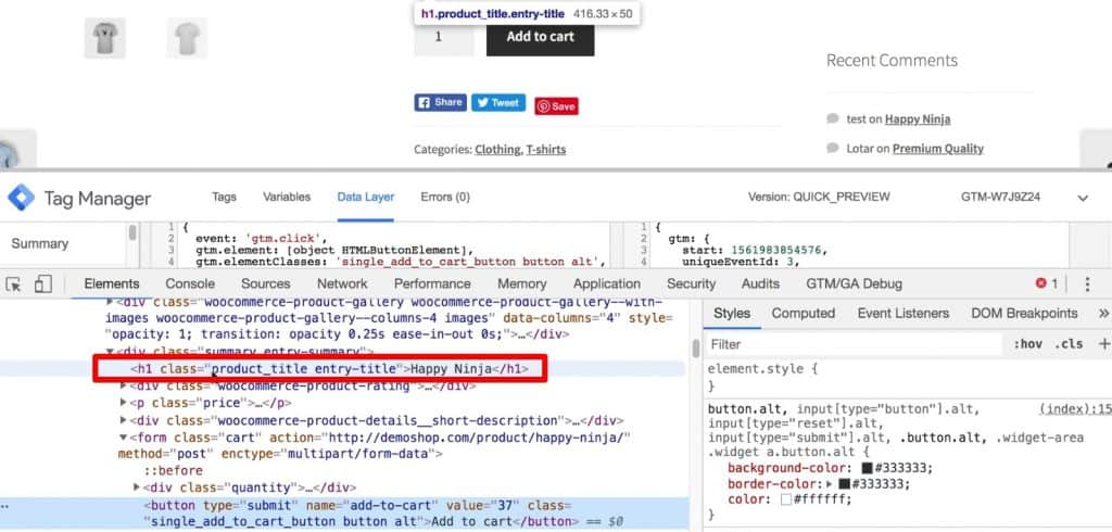 Accessing the h1 element of the webpage with the Developer Tools