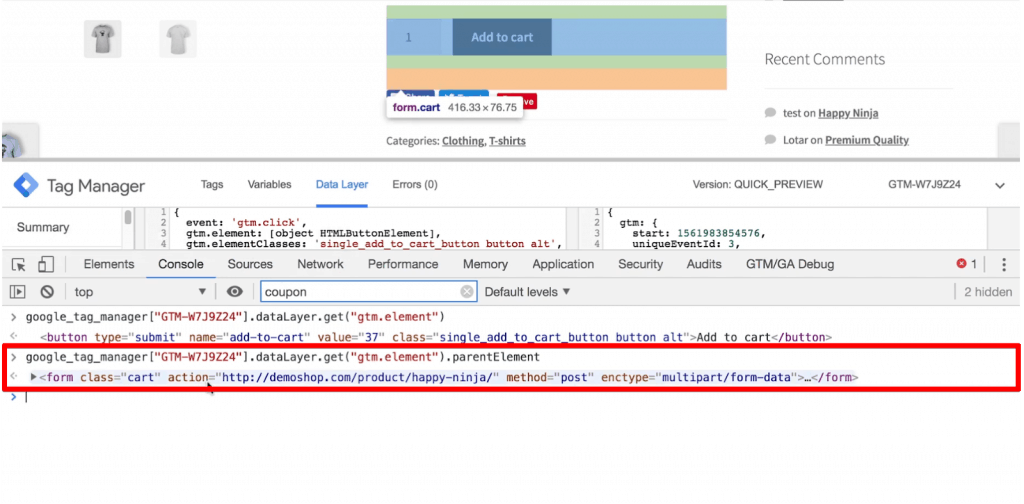 .parentElement command to fetch the next element of the clicked element in the Developer Tools